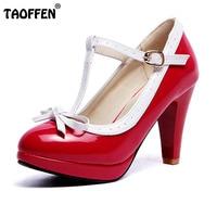 TAOFFEN Plus Size 32 48 Women Summer High Heels Shoes Woman T Strap Bowknot Pumps Lady