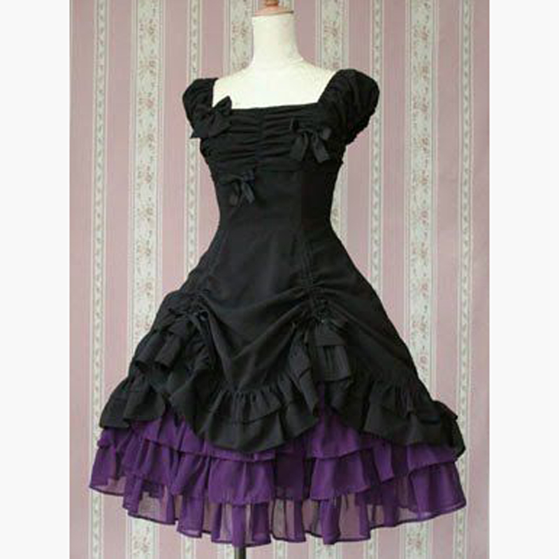 Cute Black And Purple Cocktail Dress Japanese Style Apron Dress Ball