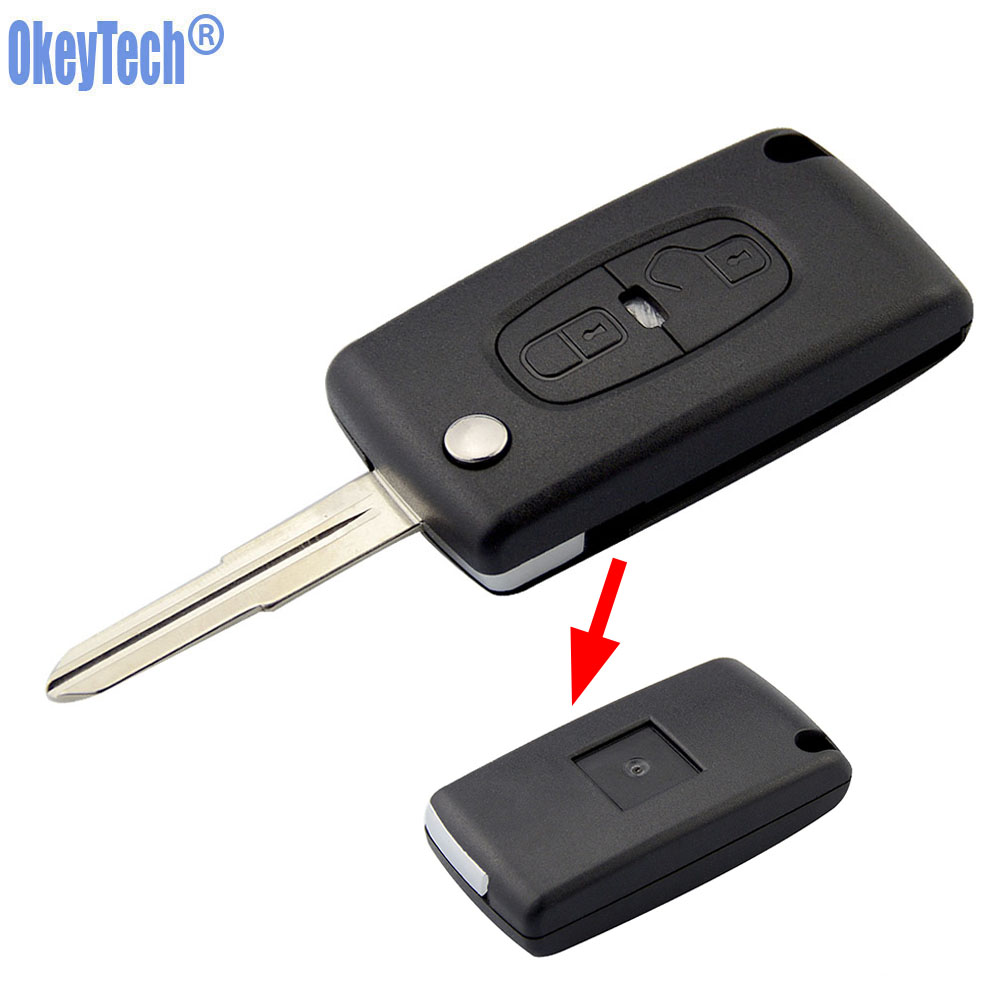 OkeyTech FOR <font><b>PEUGEOT</b></font> <font><b>4008</b></font> 3008 407 307 For Citrone 2 Button Fob Remote <font><b>Key</b></font> Case Flip Remote <font><b>Key</b></font> Shell Fob MIT-11R Blade Shell image