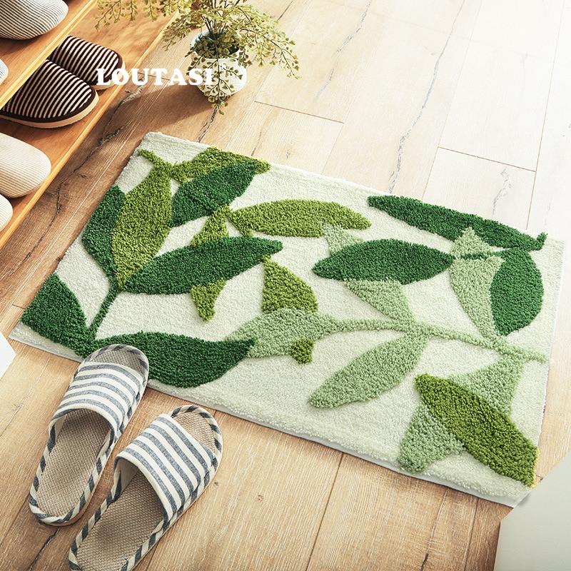 LOUTASI Green Leaf Mat Bath Mat Doormat Absorbent Anti-slip Carpet For Living Room Kitchen Bathroom Bedroom Rug Alfombra De Bano