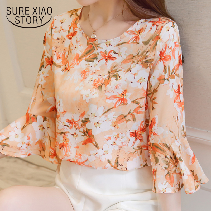 2018 new women tops summer fashion printed blouse shirt women clothing casual sweet lady plus size loose female shirts 0483 40