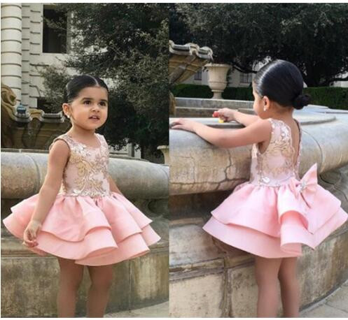 New Pink flower girl dress knee length with bow lace applique any size custom made nivea гель для душа спорт 250 мл
