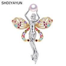 Женская брошь в форме ангела shdiyayun с натуральным пресноводным