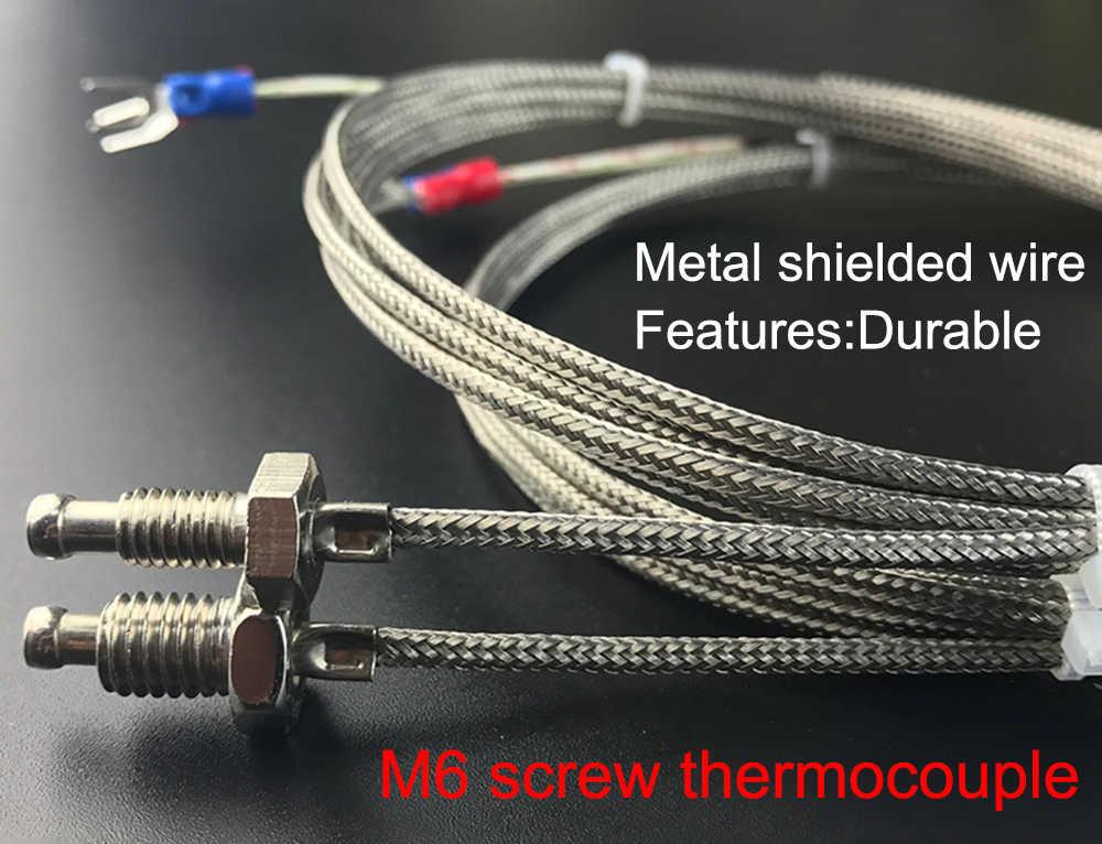 K tipi E tipi M6 vidalı tip termokupl M8 iplik termal direnç sıcaklık sensörü sıcaklık hattı sıcaklık probu hattı