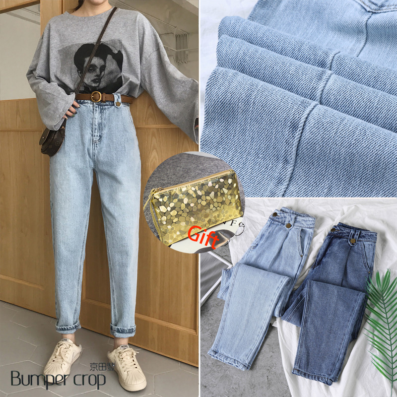 Genuine BUMPERCROP woman jeans 2019 spring new design vintage blue harem boy friend pants loose bleached button girl fashion ins Price $63.40
