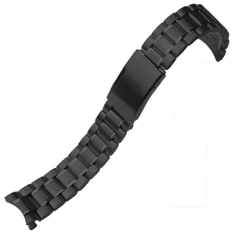 Stainless Steel Bracelet Watch Band Strap Straight End Solid Links Black New Mens Black Stainless Steel Watch Band Strap Metal3/ stylish 8 led blue light digit stainless steel bracelet wrist watch black 1 cr2016