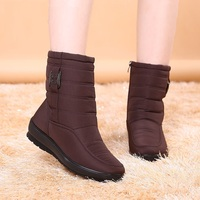 Warm Women Winter Boots Zipper Antiskid Waterproof Flexible Snow Mother Shoes Plush Insole Zapatos Mujer