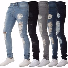 Mens Casual Skinny Jeans Pants Men Solid black ripped jeans