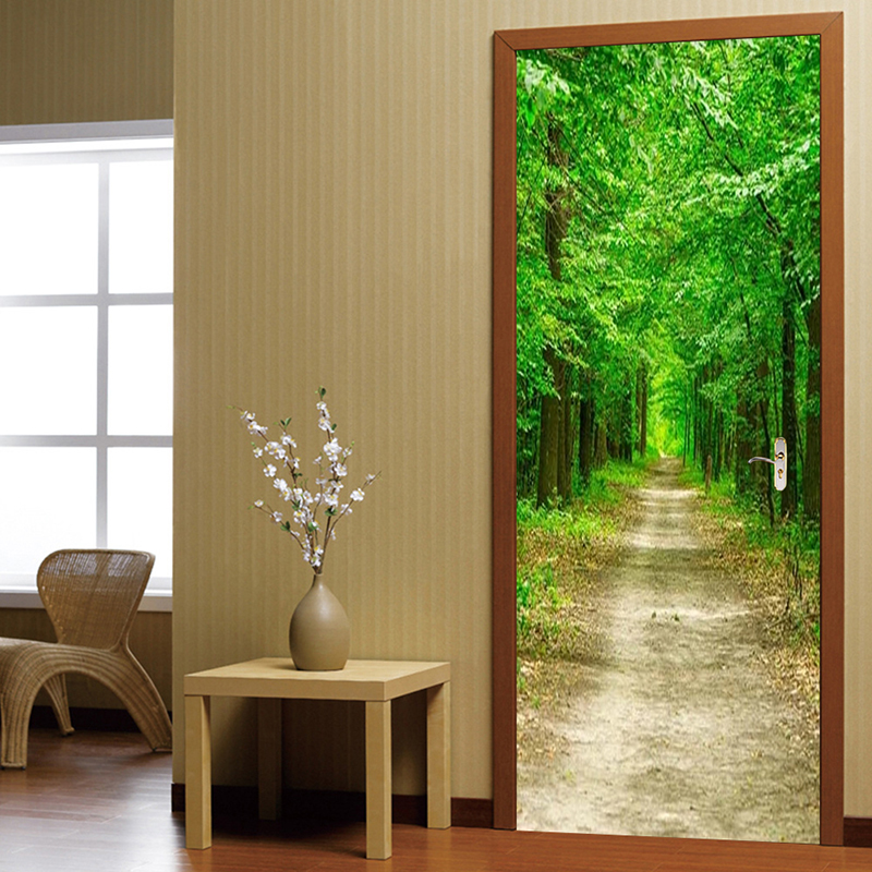 Photo Wallpaper 3D Forest Green Path Murals Living Room Bedroom Door Sticker PVC Self Adhesive Waterproof Home Decor Wall Papers
