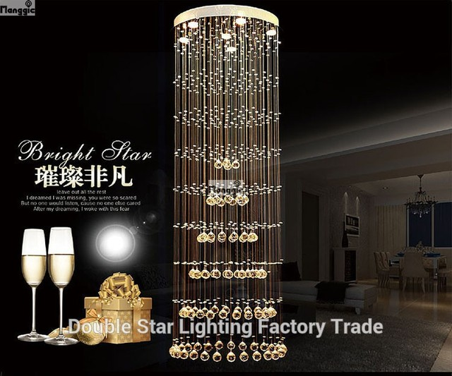 Modern crystal chandelier large LED lamps long big chandeliers ...