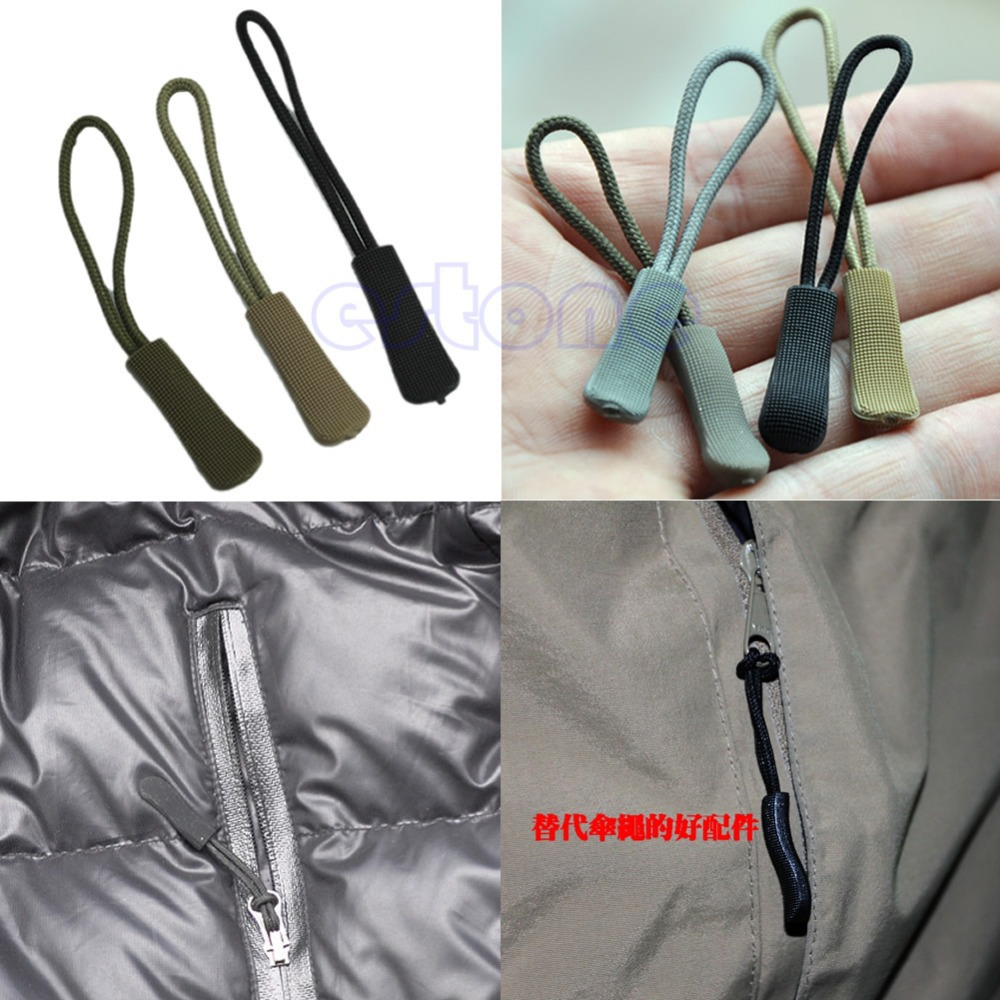 Tegoni Zipper Pull Puller End Fit Rope Tag Fixer Zip Cord Tab Replacement Clip Broken