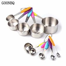 cd6632bd55f GOONBQ 10 pcs set Measuring Cup Set Stainless Steel Measuring Spoon With  Silicone Handle Foldable