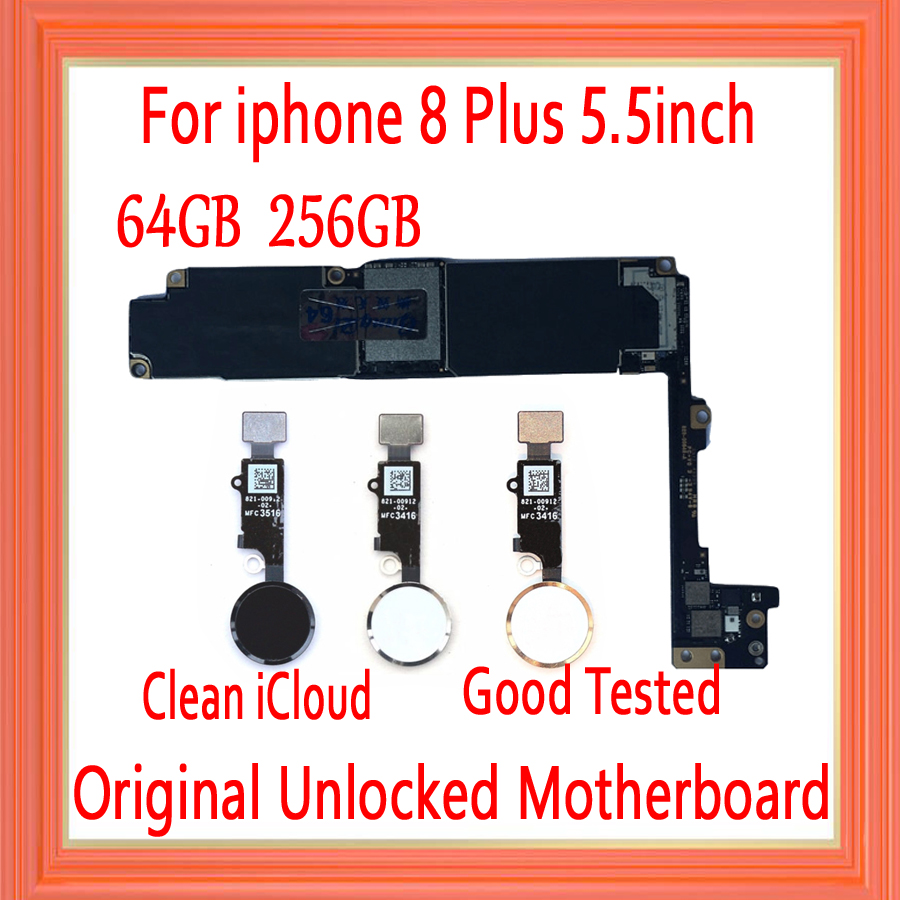 No iCloud for <font><b>iphone</b></font> <font><b>8</b></font> Plus <font><b>Motherboard</b></font>,Original unlocked for <font><b>iphone</b></font> 8P Logic boards Without <font><b>Touch</b></font> <font><b>ID</b></font>/<font><b>With</b></font> <font><b>Touch</b></font> <font><b>ID</b></font> 64GB / 256GB image