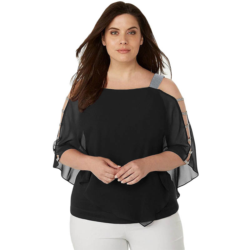 Womens Large Size Chiffon Blouse Batwing Sleeve Tops Solid Pullover Hollow Out Bat Sleeve Shirt XL-5XL For Ladies Summer 2019