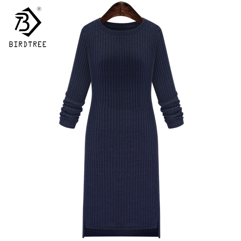 Basic Knitted Work Sweater Dresses 2018 O Neck Long Sleeves Ribbed Women Autumn Winter Casual Solid Color Bodycon Dress D7N708A