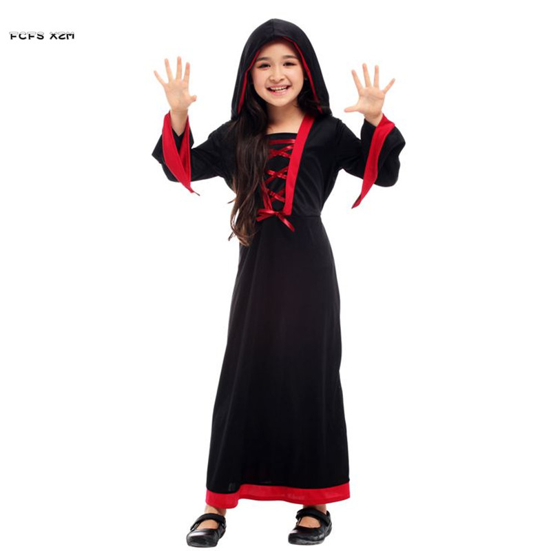 M-XL Girls Halloween Sorceress Witch Costumes Kids Children Demon Scary Cosplays Carnivl Purim Stage play Masquerade party dress