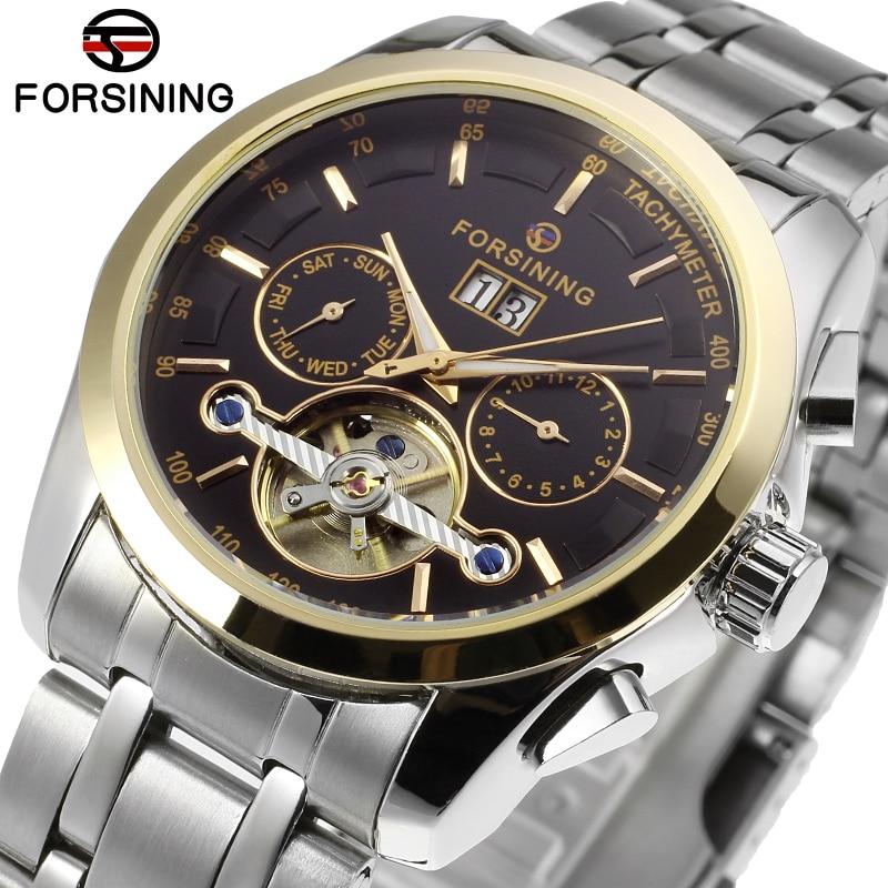 FORSINING Brand Mens Complete Calendar Tourbillion Stainless Steel Automatic Mechanical Watch Elegant Wristwatch Relogio Releges 2015 forsining relogio pmw342