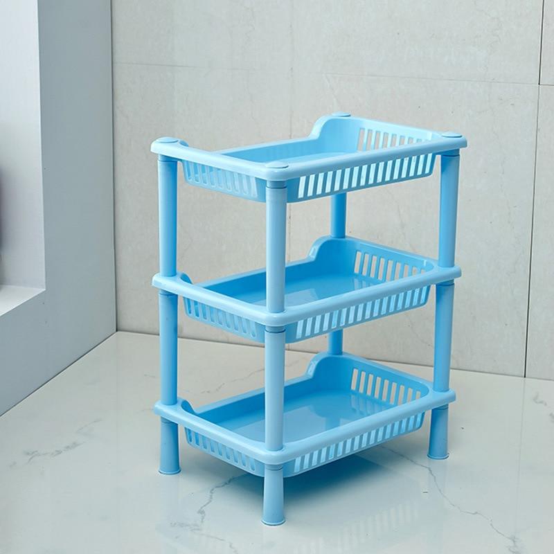 Bathroom Plastic Makeup Storage Shelf Shower Room Floor Type Three Layers Sundries Storage Rack