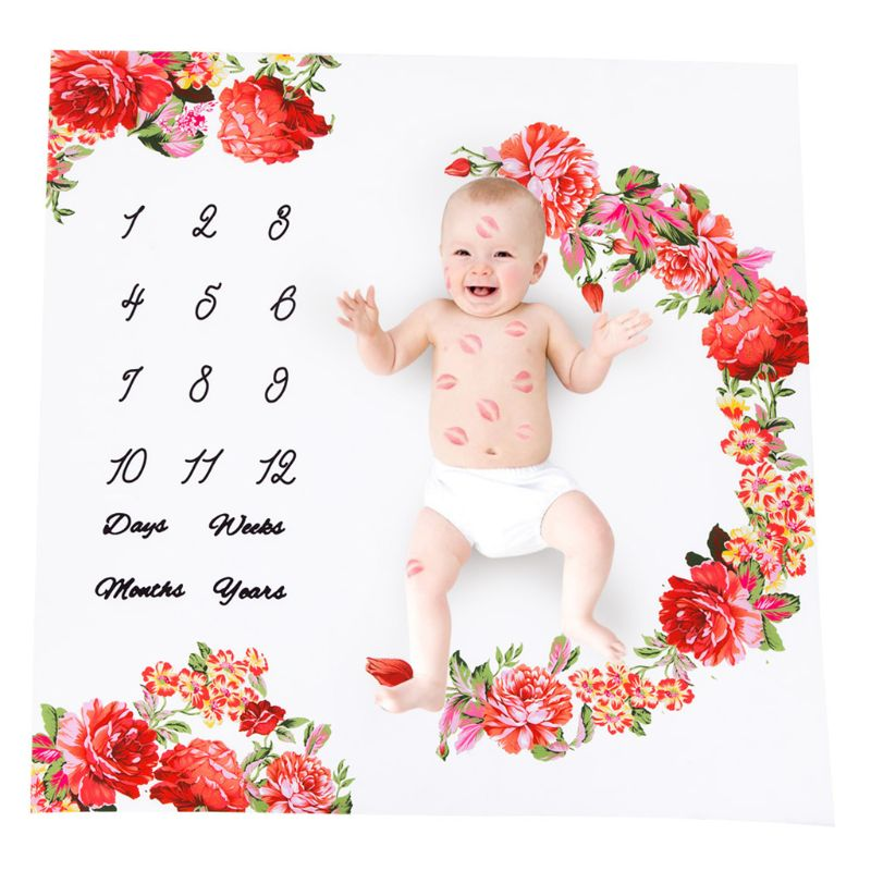 Newborn Baby Milestone Number Flower Pattern Mat Blanket Photography Background Backdrop Cloth JUN-24