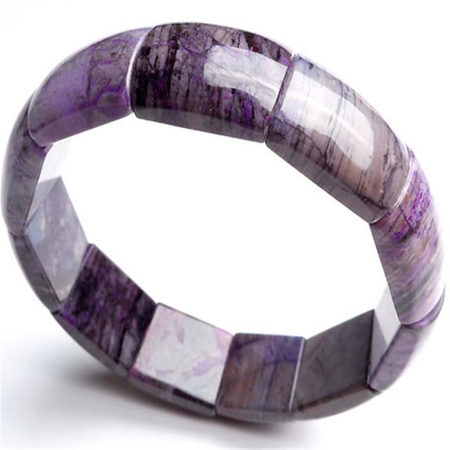 Genuine Único África Do Sul Natural Roxo Sugilite Pedra Pulseira Pulseiras Talão Retângulo Mulheres Lady Estiramento Charm Bracelet