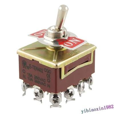 10pcs AC 15A/250V 10A/380V 12 Screw Terminals On/On 4PDT Toggle Switch image