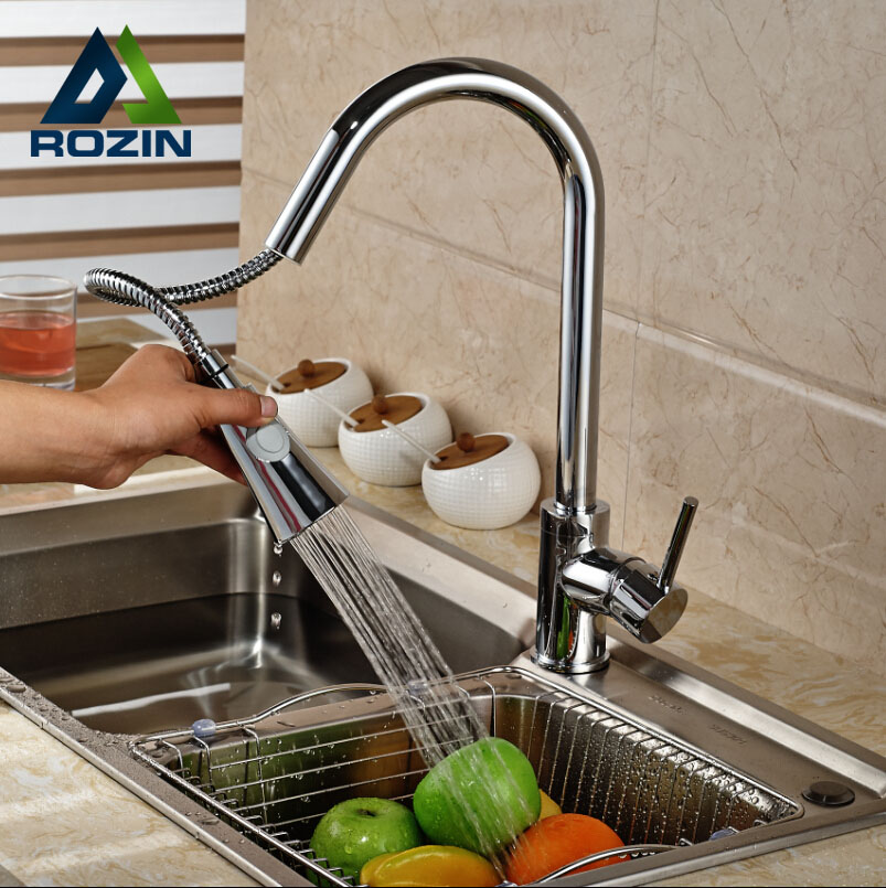 ФОТО Chrome Brass Rotation Dual Sprayer Kitchen Sink Faucet Deck Mount Kitchen Water Taps Pull Out hot and cold water