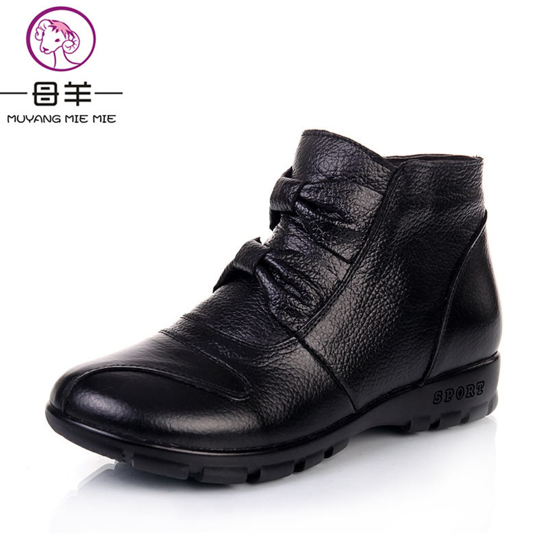 MUYANG MIE MIE Winter Boots Genuine Leather Flat Snow Boots 2018 New Comfortable Warm Women Shoes Woman Ankle Boots Women Boots yaerni new 2017 women winter ankle boots handmade velvet flat with boots shoe comfortable casual shoes women snow boots
