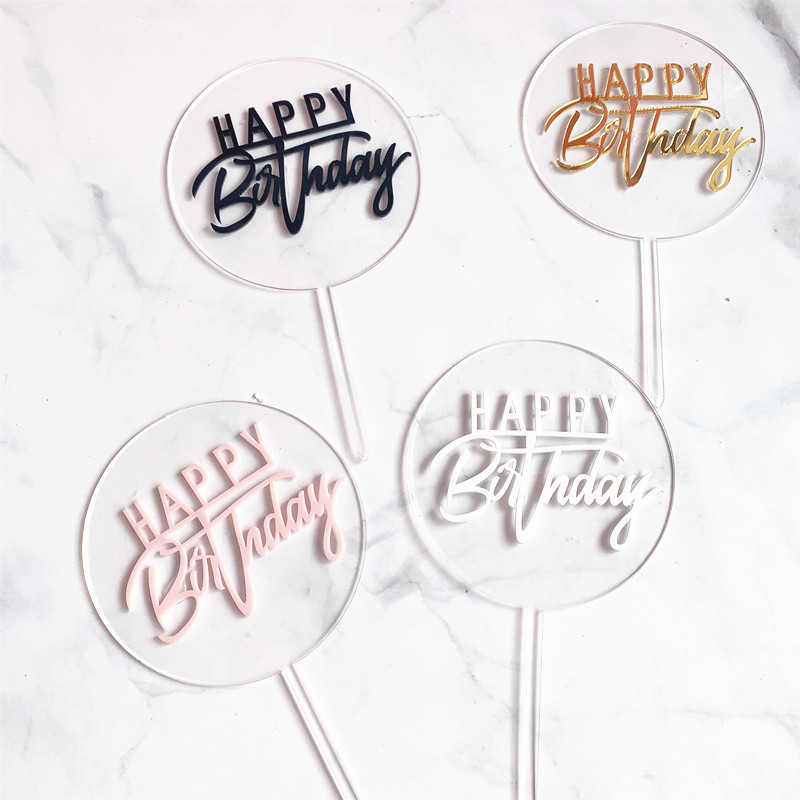 New Happy Birthday Acrylic Cake Topper Gold Circle Double Layer Cupcake Topper For Birthday Party Cake Decorations Baby Shower