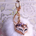2016 Fashion Fox Keychains Charming Fur Tail Bag Tassel Decoration High Quality Crystal Personality Car Ornaments chaveiro 9.5cm