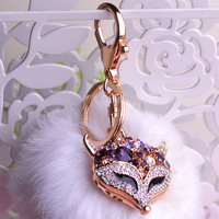 2016 Fashion Fox Keychains Charming Fur Tail Bag Tassel Decoration High Quality Crystal Personality Car Ornaments
