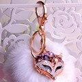 2016 moda raposa chaveiro charme saco de cauda decoração de alta qualidade de cristal de carro personalidade chaveiro 9.5 cm
