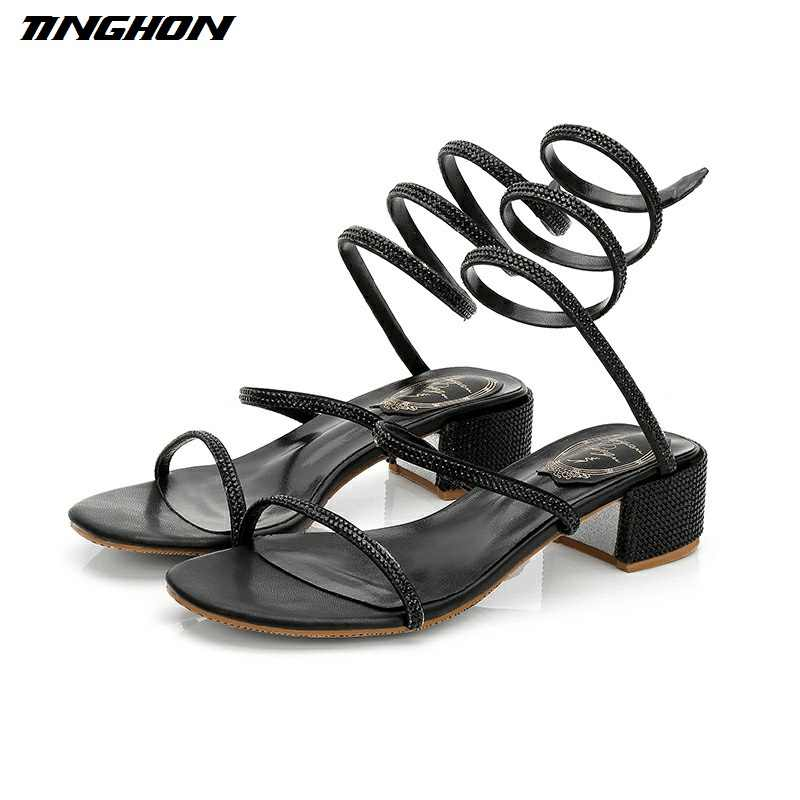 TINGHON Mùa Hè Người Phụ Nữ Pha Lê Gladiator Sandals Sandals Phụ Nữ Mở Toe Gót Vuông Dép Phụ Nữ Đảng Dress Rắn Giày Dây Đeo