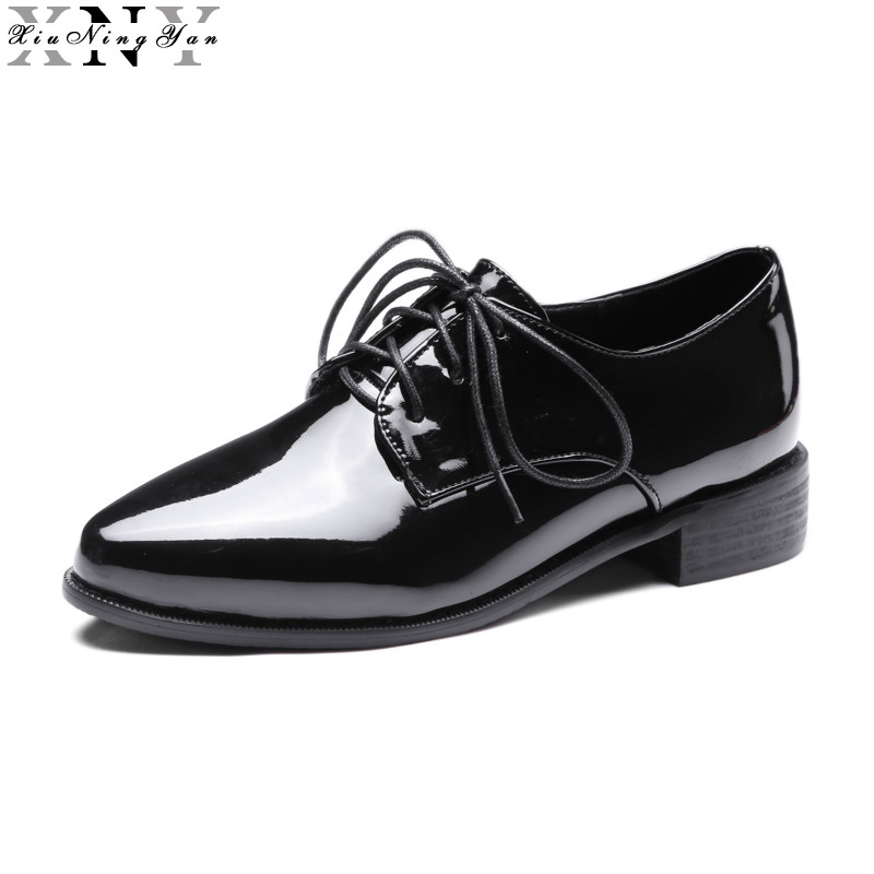 XIUNINGYAN Black Women Flat British Style Oxford Shoes Women Spring Leather Oxfords Flat Heel Casual Shoes Women Shoe Brogues xiuningyan soft leather women shoes brogues lace up flat pointed toe patent leather white oxfords women casual shoes for women