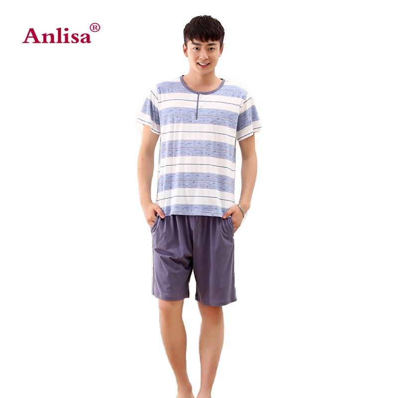 Anlisa Brand Clothing Cotton Short Sleeve Pajamas for Men Pajama ... 019a85815