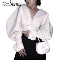 GETSRING Women Shirt Blouse Vintage V Neck Women Blouses White Ruffle Blouses Batting Women Shirts Korean Top Women 2019 Spring