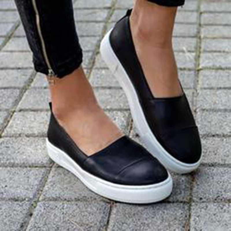 Oeak 2019 אביב נשים עור ופרס להחליק על בלט דירות לבן שחור נעלי אישה להחליק על נעלי סירת נעליים מוקסינים