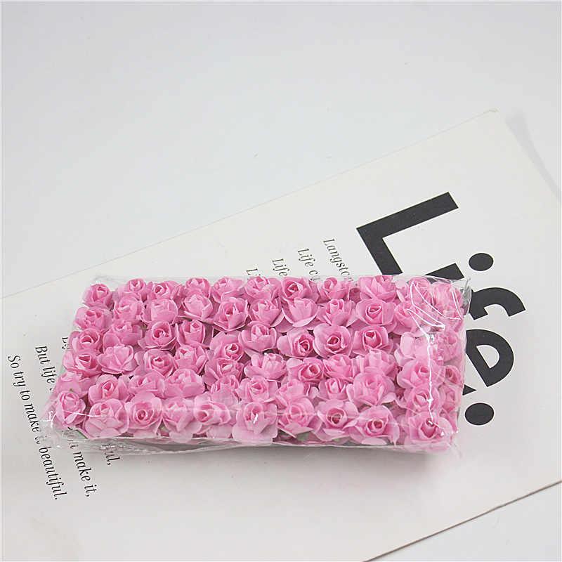 144 pcs מיני חמוד נייר עלה בעבודת יד פרחים מלאכותיים חתונת קישוט DIY זר מתנת רעיונות קרפט מזויף פרח