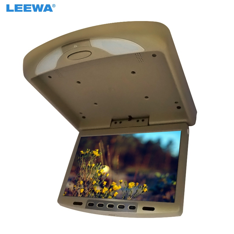 LEEWA 3-Color Black, Grey, Beige 12 inch Car/Bus TFT LCD Roof Mounted Monitor Flip Down Monitor 2-Way Video Input 12V #CA1287