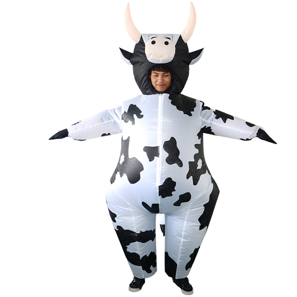 Cosplay Halloween Carnival Party Purim Costume Cow Inflatable Clothing Spotted Cow Adult Funny Clothing Blower Costume