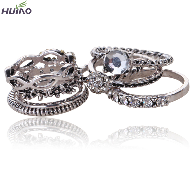 8pcs/set Crystal Eye Mask Design Thin Antique Silver Plated Girl Ring Sets  Ebay