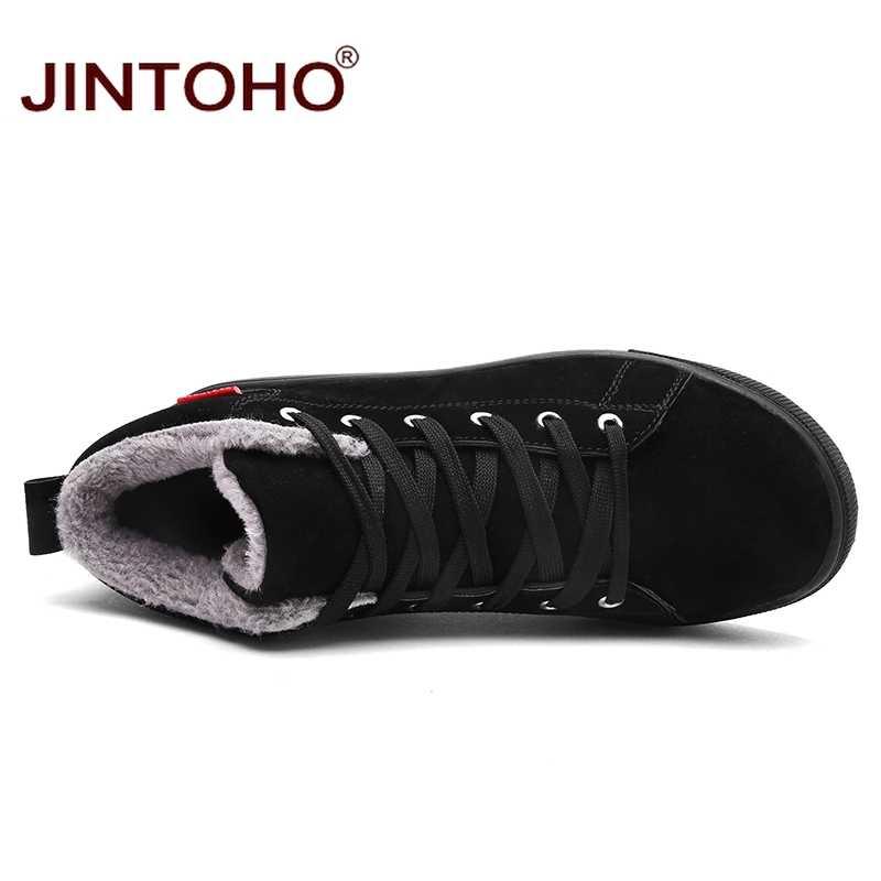 JINTOHO גדול גודל שחור Mens חורף נעלי אופנה גברים חורף מגפי קרסול חם שלג מגפי גברים מקרית שלג נעליים עבור גברים