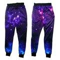 Alisister mulheres basculadores calças gráfico 3d galaxy espaço impresso básico calças sweatpants para homens/mulheres do hip hop calças