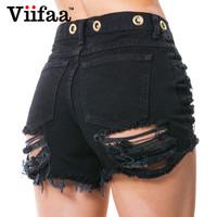 Oczka Viifaa Hole Szorty Kobiety Czarny Ripped Krótkie Dżinsy Damskie Bawełniane Spodenki Jeansowe Lato Sexy Krótki Feminino