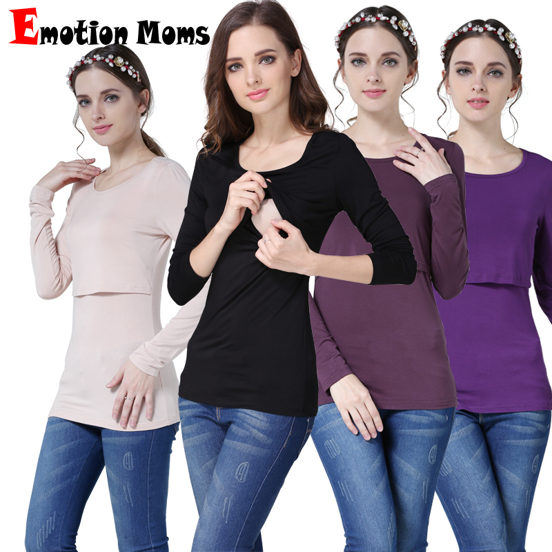 Emotion Moms Modal Long Sleeve Maternity Clothes Nursing Top Breastfeeding Tops For Pregnant Women Fashion Maternity T-shirt