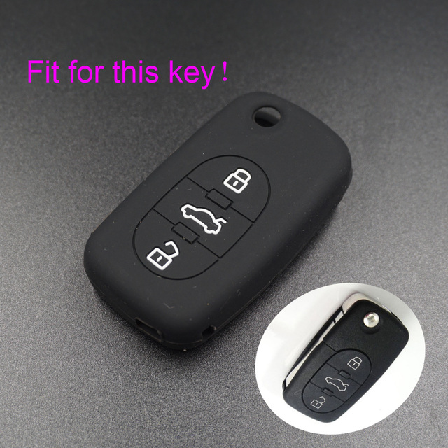 Xinyuexin For Audi Silicone Car Key Cover FOB Case For Audi A2 A3 A4 A6 A8 TT 3Button Flip Remote Key Jacket Wallet Car-stying