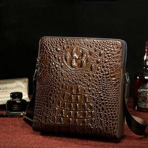 ipad bag genuine leather crocodile shoulder bag men sacos de viagem de couro dos messenger bags para o sexo masculino