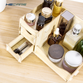 HECARE Wooden Box Storage Box for Cosmetics Wood Makeup Organizer for Storing Cosmetics Storage Organizer Drawer Organizer New 4