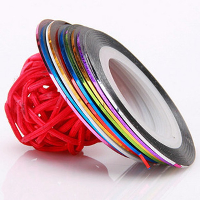 10 Rolls Colours Mixed Multicolor Mixed Colors Rolls Striping Tape Line Nail Art Decoration Sticker DIY Nail Tips SKU:XD0794