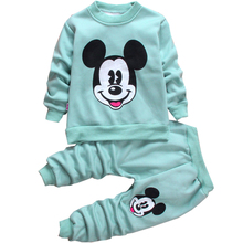 Autumn Winter Mickey baby girls clothing sets children velvet warm clothes set kids cartoon boy coats