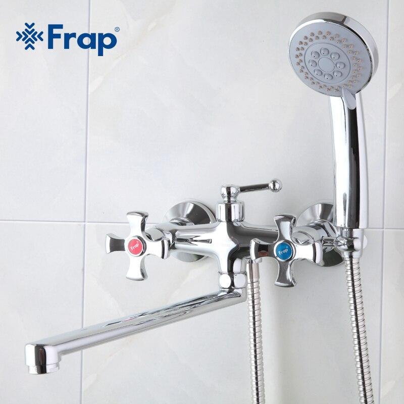 Frap Double poignée Salle De Bains Mélangeur 30 cm acier inoxydable long nez de sortie en laiton robinet de douche F2293